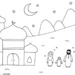 kleurplaat naar de moskee