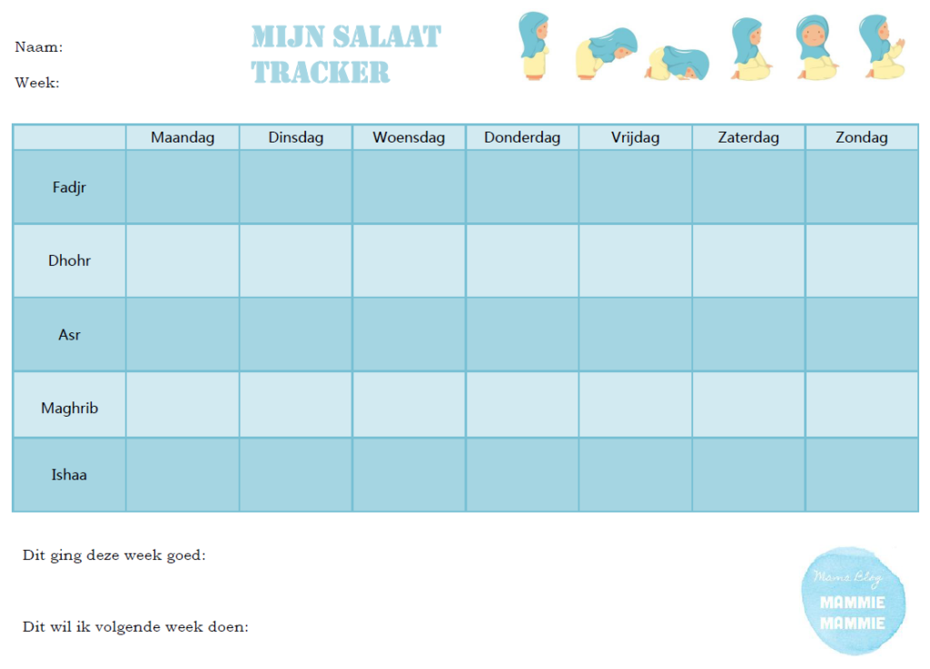 Download | Printable Salaat Tracker for kids