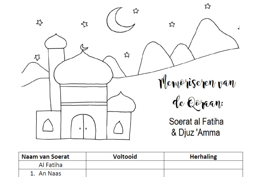 Gratis tabel voor kinderen | Het memoriseren van de Qoraan, Surat al Fatiha en Djuz Amma