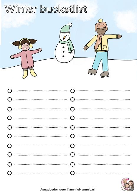 winter bucketlist kids