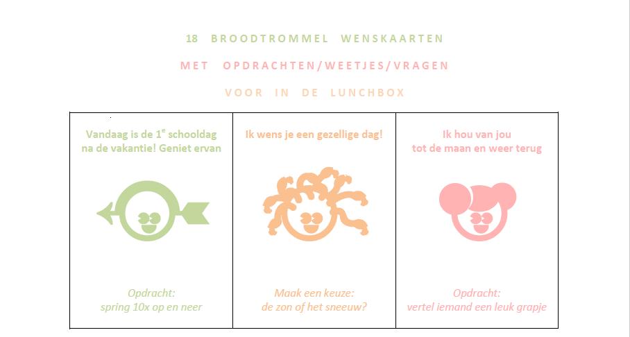 Printable | Broodtrommel wens kaarten met leuke opdrachten voor kinderen