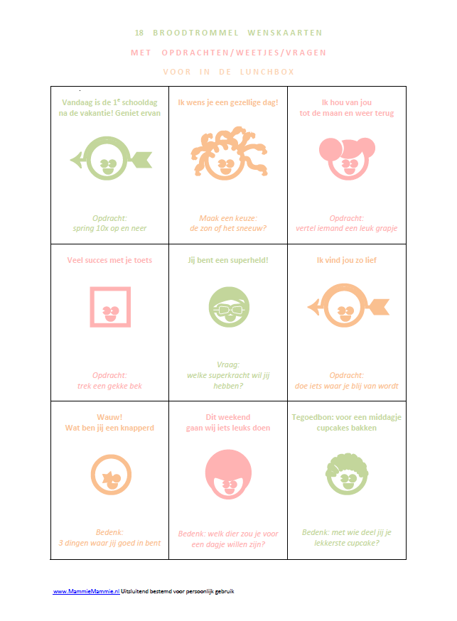 gratis download broodtrommel kaarten met opdrachten en vragen voor kids (licht)