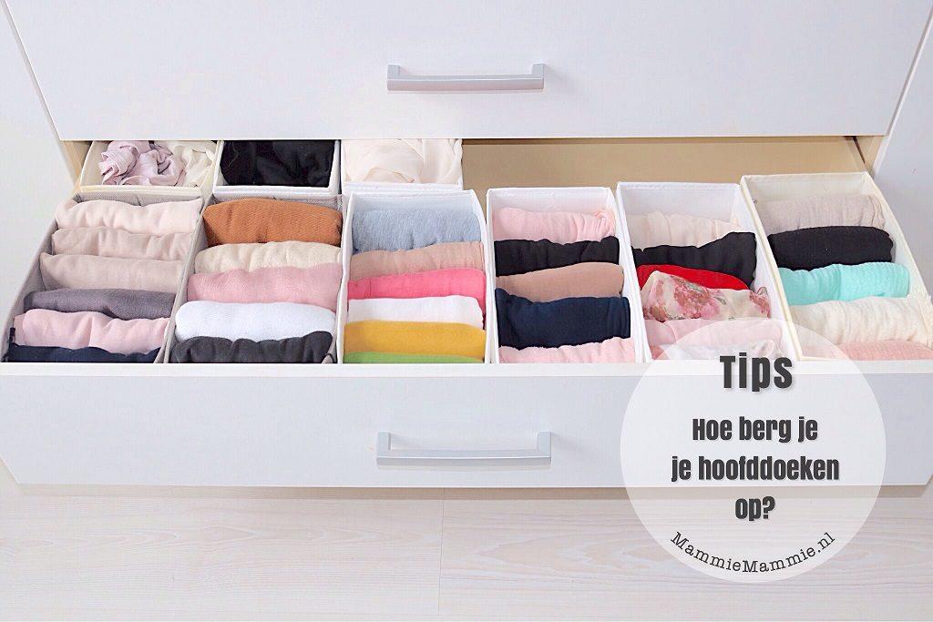 hoofddoeken opbergen in la