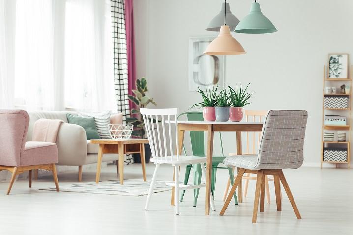 pastel woonkamer en eetkamer