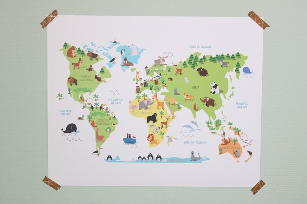 poster wereldkaart kind
