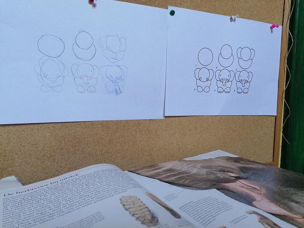 olifant schetsen kind