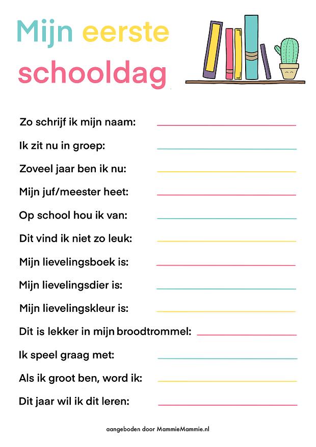 Printable eerste schooldag